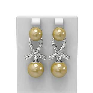 1.3 ctw Pearl & Diamond Earrings 18K White Gold -