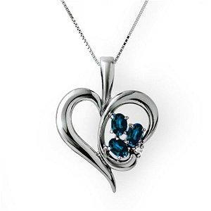 1.10 ctw Blue Sapphire & Diamond Pendant 10k White Gold