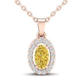0.65 ctw Citrine & Micro Pave VS/SI Diamond Necklace