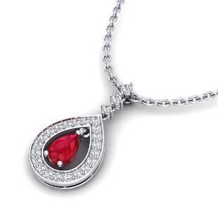 1.15 ctw Ruby & Micro Pave VS/SI Diamond Necklace 14k