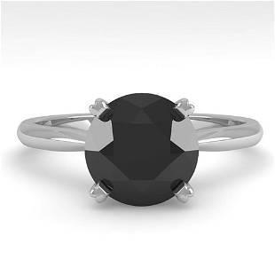 2.0 ctw Black Diamond Engagment Designer Ring 14k White