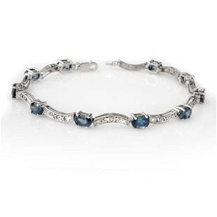 4.25 ctw Blue Sapphire & Diamond Bracelet 14k White