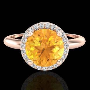 2 ctw Citrine & Micro VS/SI Diamond Ring Designer 14k