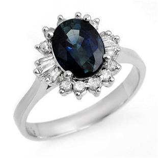 2.29 ctw Blue Sapphire & Diamond Ring 18k White Gold -