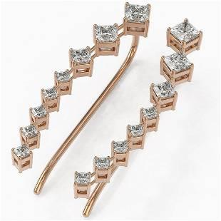 1.68 ctw Princess Cut Diamond Designer Earrings 18K