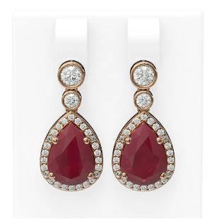 3.1 ctw Ruby & Diamond Earrings 18K Rose Gold -
