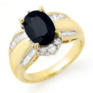 3.42 ctw Blue Sapphire & Diamond Ring 14k Yellow Gold -