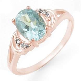 1.06 ctw Blue Topaz & Diamond Ring 14k Rose Gold -