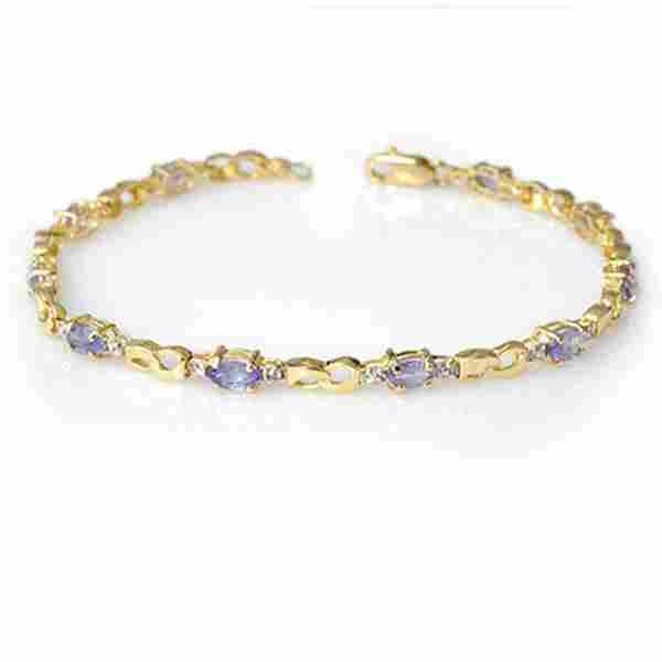2.06 ctw Tanzanite & Diamond Bracelet 10k Yellow Gold -