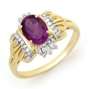 0.77 ctw Amethyst & Diamond Ring 10k Yellow Gold -