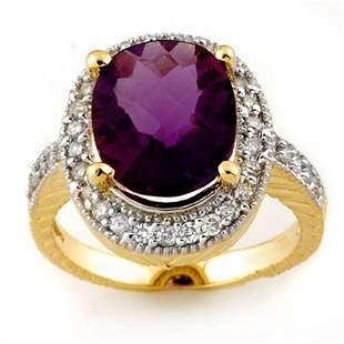 5.50 ctw Amethyst & Diamond Ring 14k Yellow Gold -