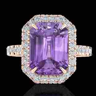 5.03 ctw Amethyst & Micro Pave VS/SI Diamond Ring 14k