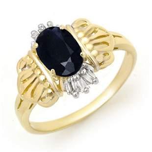 1.04 ctw Blue Sapphire & Diamond Ring 10k Yellow Gold -