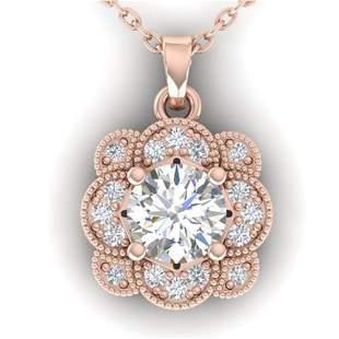 0.75 ctw VS/SI Diamond Art Deco Necklace 14k Rose Gold