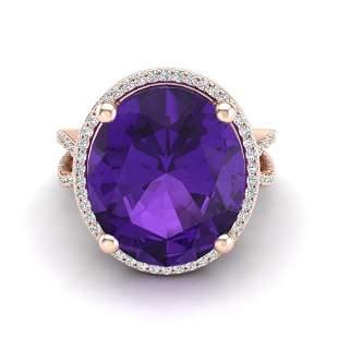 10 ctw Amethyst & Micro Pave VS/SI Diamond Ring 14k