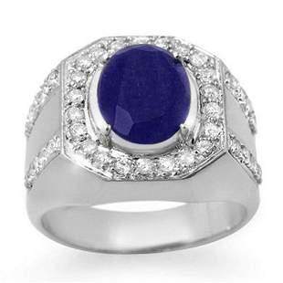 5.75 ctw Sapphire & Diamond Men's Ring 10k White Gold -