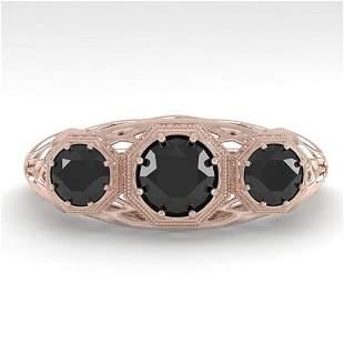 1.00 ctw Black Diamond Art Deco Ring 14k Rose Gold -