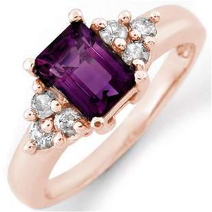1.36 ctw Amethyst & Diamond Ring 14k Rose Gold -