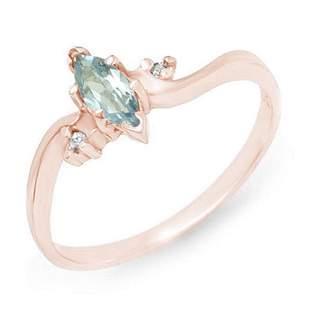 0.29 ctw Blue Topaz & Diamond Ring 14k Rose Gold -