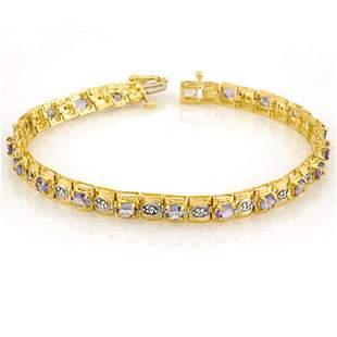 3.14 ctw Tanzanite & Diamond Bracelet 10k Yellow Gold -