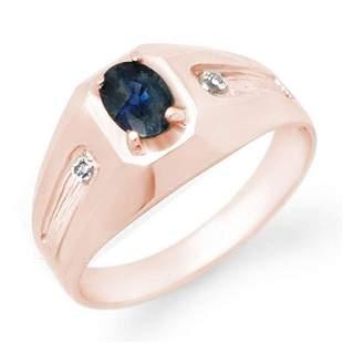0.68 ctw Blue Sapphire & Diamond Men's Ring 18k Rose