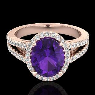 3 ctw Amethyst & Micro VS/SI Diamond Halo Ring 14k Rose