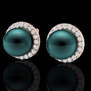 0.50 ctw Micro VS/SI Diamond & Peacock Pearl Earrings