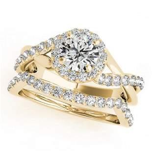 0.85 ctw Certified VS/SI Diamond 2pc Wedding Set Halo