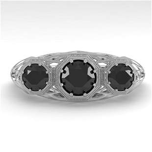 1.00 ctw Black Diamond Art Deco Ring 14k White Gold -