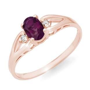 0.53 ctw Amethyst & Diamond Ring 14k Rose Gold -