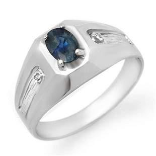 0.68 ctw Blue Sapphire & Diamond Men's Ring 18k White