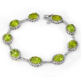 20.33 ctw Peridot & Diamond Bracelet 10k White Gold -