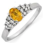 0.74 ctw Yellow Sapphire & Diamond Ring 10k White Gold