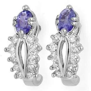 0.80 ctw Tanzanite & Diamond Earrings 10k White Gold -