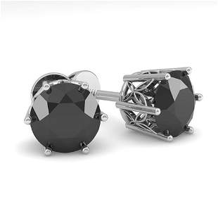 2.0 ctw Black Diamond Stud Art Deco Earrings 14k White