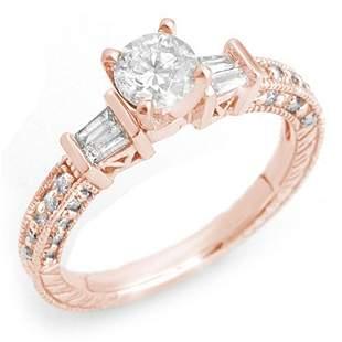 1.08 ctw Certified VS/SI Diamond Ring 14k Rose Gold -