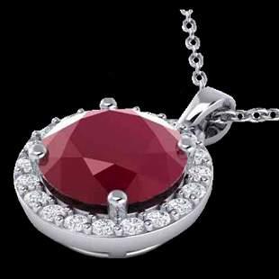 2 ctw Ruby & Halo VS/SI Diamond Micro Pave Necklace 18k
