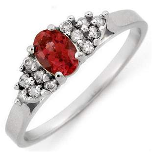0.74 ctw Pink Tourmaline & Diamond Ring 10k White Gold