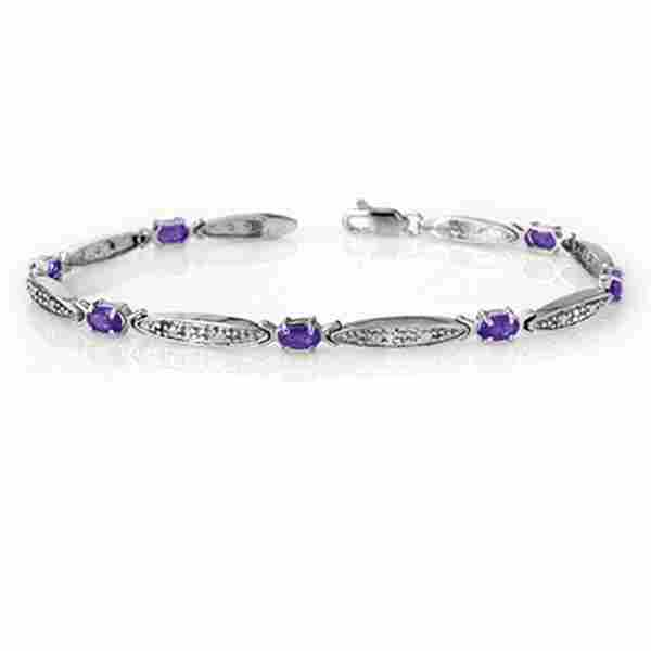 1.82 ctw Tanzanite & Diamond Bracelet 10k White Gold -