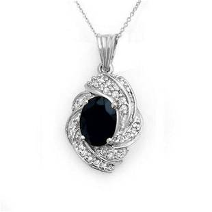 3.88 ctw Blue Sapphire & Diamond Pendant 18k White Gold