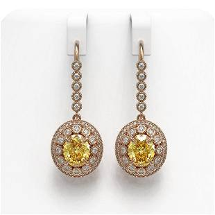 .65 ctw Canary Citrine & Diamond Victorian Earrings