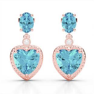 8 ctw Sky Blue Topaz & VS/SI Diamond Designer Heart