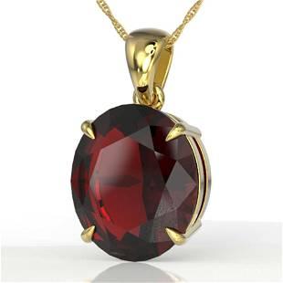 9 ctw Garnet Designer Solitaire Necklace 18k Yellow