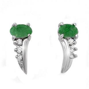 0.60 ctw Emerald & Diamond Earrings 10k White Gold -