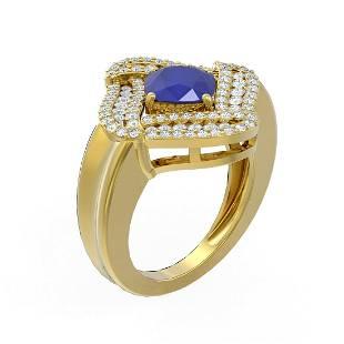 3.42 ctw Sapphire & Diamond Ring 18K Yellow Gold -