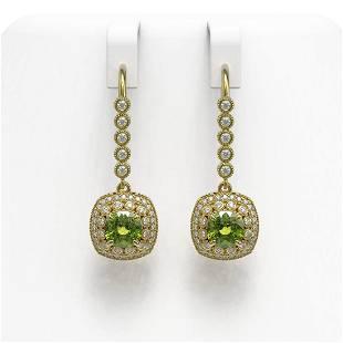 4.5 ctw Tourmaline & Diamond Victorian Earrings 14K