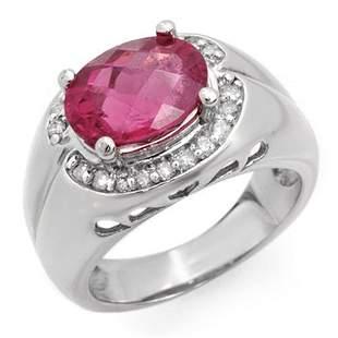 3.83 ctw Pink Tourmaline & Diamond Ring 10k White Gold