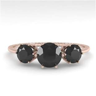 1 ctw Past Present Future Black Diamond Ring 18k Rose