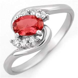 0.50 ctw Pink Tourmaline & Diamond Ring 10k White Gold