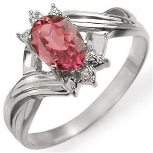 0.79 ctw Pink Tourmaline & Diamond Ring 10k White Gold